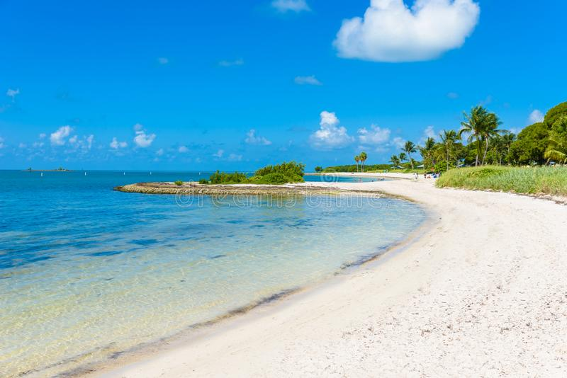 Sombrero Beach with palm trees on the Florida Keys, Marathon, Florida, USA. Tropical and paradise destination for vacation royalty free stock photography