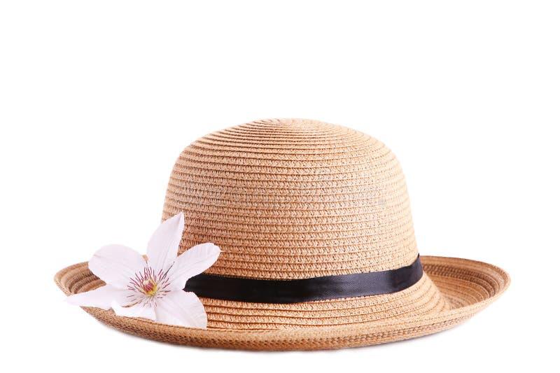 Sombrero bonito con la flor aislada en el fondo blanco fotos de archivo libres de regalías