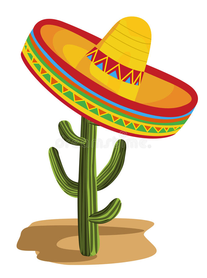 Sombrero on Cactus royalty free illustration