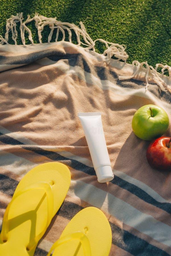 Sombrero, chancleta con las frutas, crema del sol en la tela escocesa fotos de archivo libres de regalías