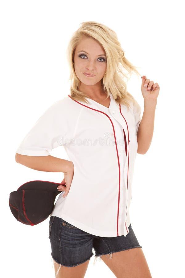 Sombrero de béisbol de la mujer apagado fotografía de archivo