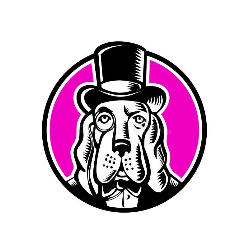 Sombrero de copa del monóculo de Basset Hound ilustración del vector