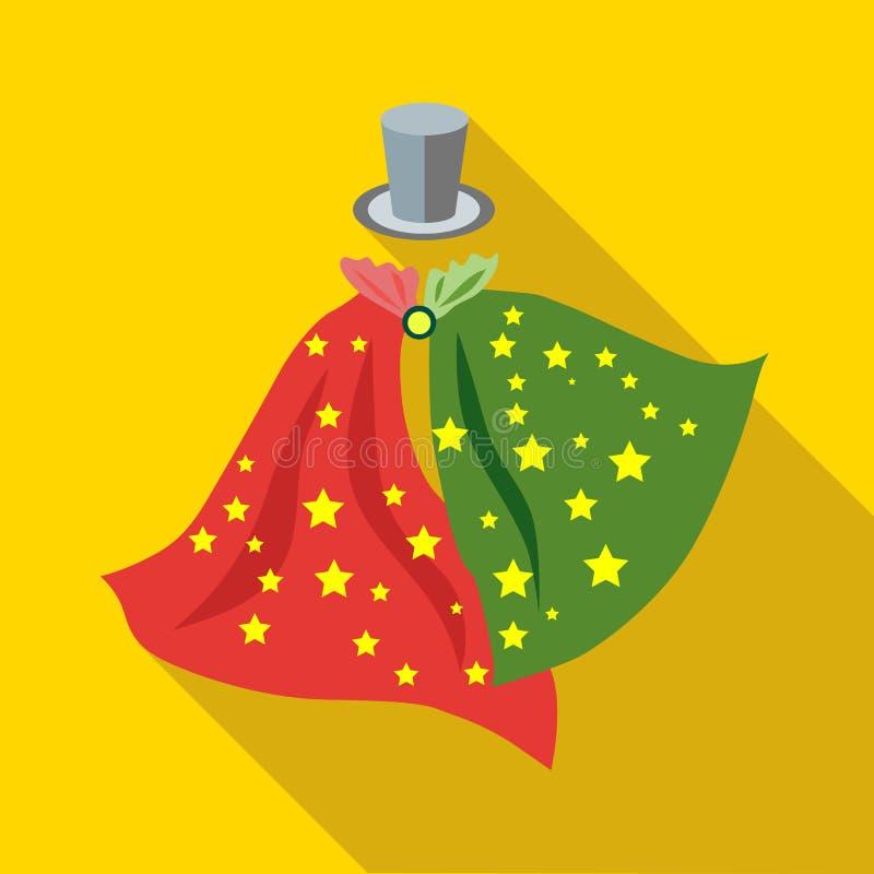 Sombrero de copa y pañuelos del icono del mago stock de ilustración