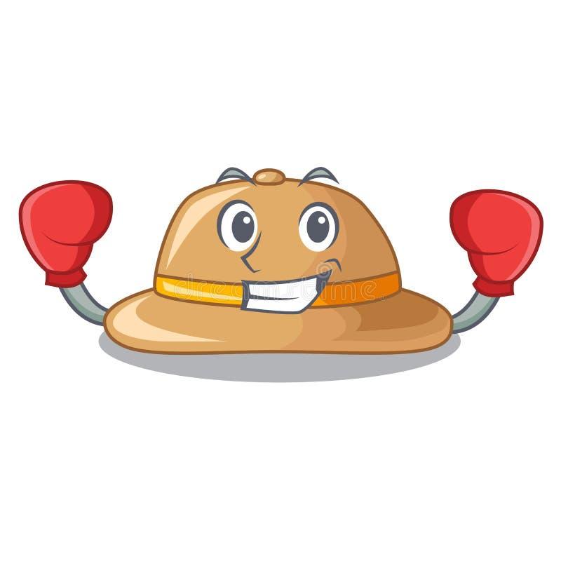 Sombrero de encajonamiento del corcho aislado en la mascota ilustración del vector