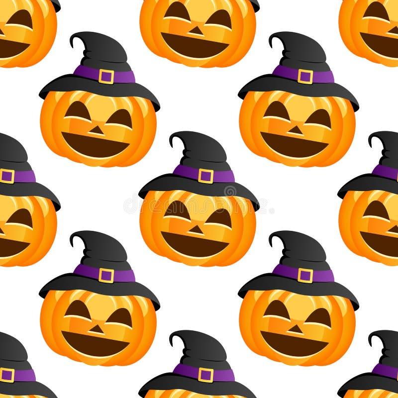 Sombrero de la bruja de la calabaza de Halloween inconsútil libre illustration