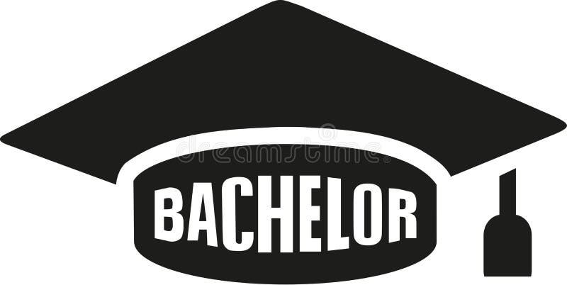 Sombrero de la graduación con el soltero stock de ilustración