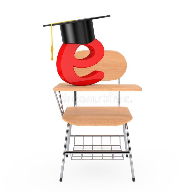 Sombrero de la graduación con la letra de E sobre escuela de madera o Colle de la conferencia ilustración del vector
