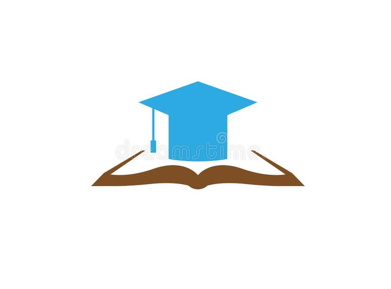 Sombrero de la graduación en un libro abierto para el diseño del logotipo ilustración del vector