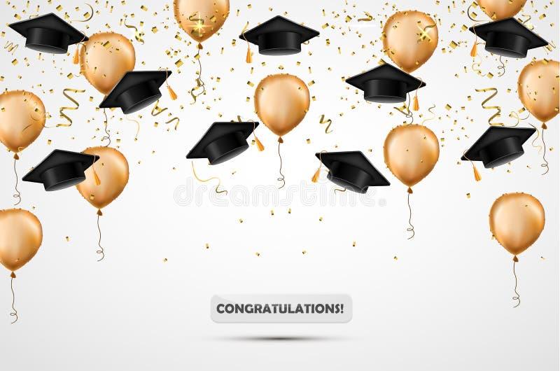 Sombrero de la graduación Globos del confeti y del oro Ilustración del vector Fondo de la celebración Taza del estudiante stock de ilustración