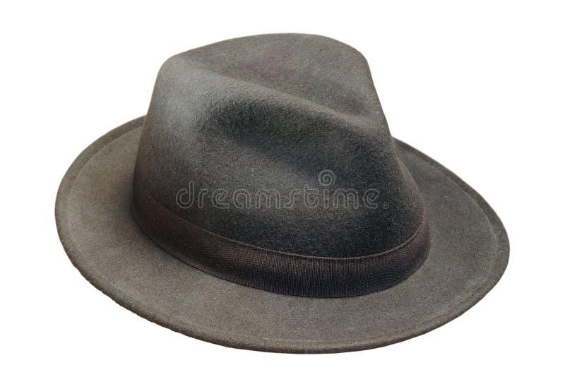 Sombrero de la lana negra sobre blanco imagen de archivo libre de regalías