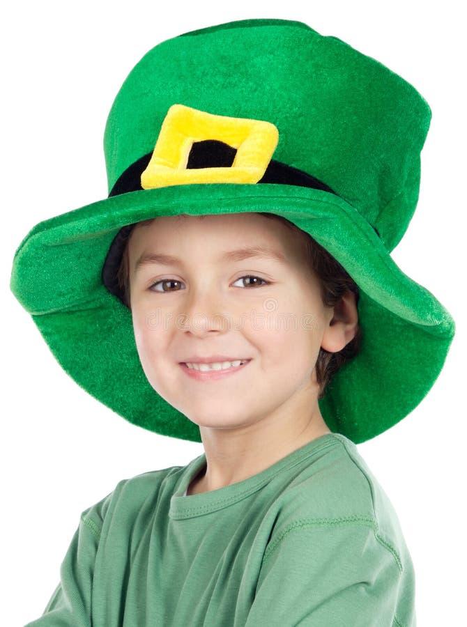 Sombrero de la pizca del niño San Patricio foto de archivo
