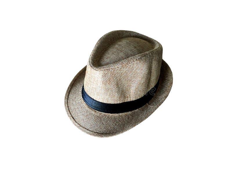 Sombrero de paja del vintage de Brown aislado en el fondo blanco imagen de archivo