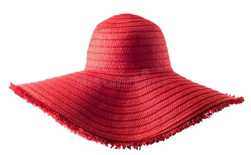 Sombrero de paja rojo del verano del ` s de la mujer aislado fotografía de archivo