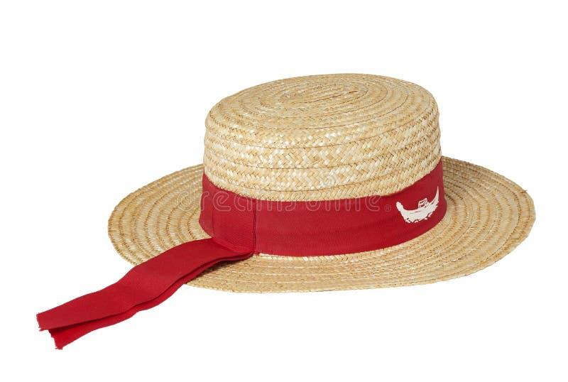 Sombrero de paja tradicional del gondolero fotografía de archivo