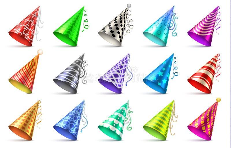 Sombrero de papel del cono con los elementos de la decoración del cumpleaños Sistema aislado casquillos del vector del partido stock de ilustración