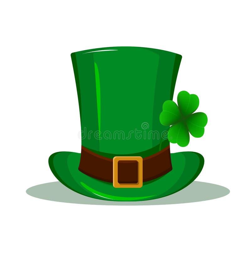 Sombrero de Patrick Sombrero verde con el trébol de cuatro hojas aislado en el fondo blanco Día feliz del ` s de St Patrick libre illustration