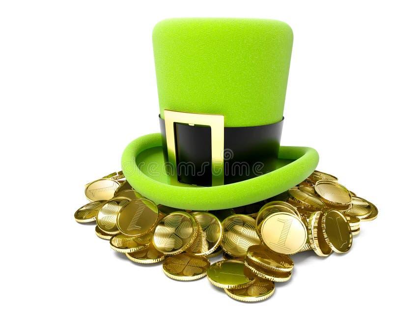 Sombrero de San Patricio en pila de moneda de oro ilustración del vector
