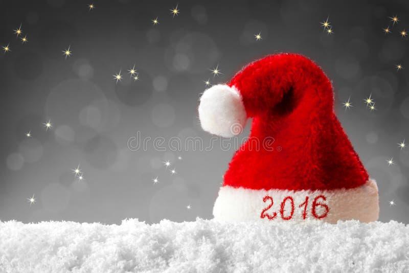 Sombrero 2016 de santa de la Feliz Año Nuevo imagen de archivo