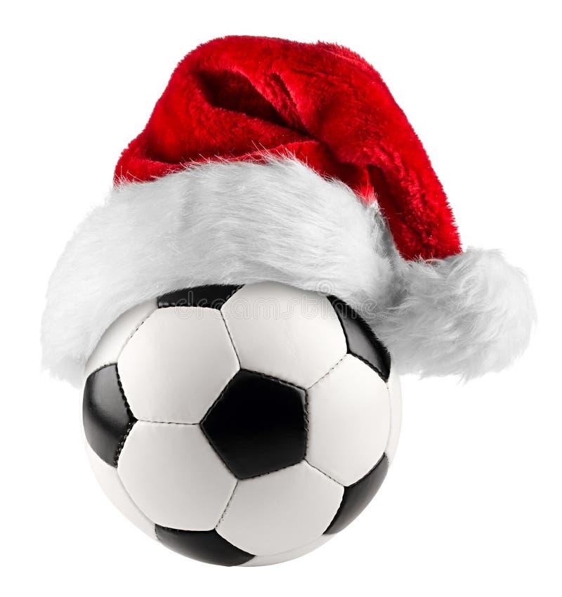 Sombrero de santa del balón de fútbol foto de archivo