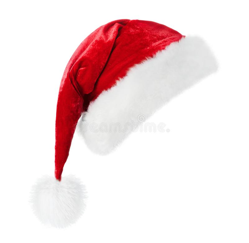 Sombrero de Santa en el fondo blanco fotografía de archivo
