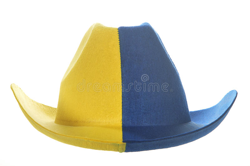 sombrero de vaquero Amarillo-azul fotos de archivo