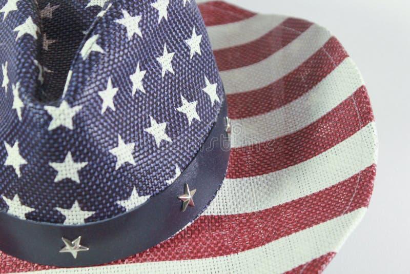 Sombrero de vaquero americano con la bandera imagenes de archivo