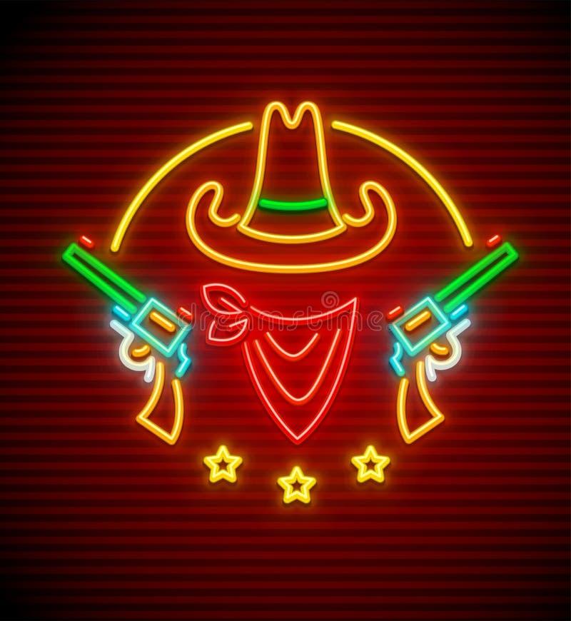 Sombrero de vaquero occidental del Texan con la señal de neón de los armas ilustración del vector