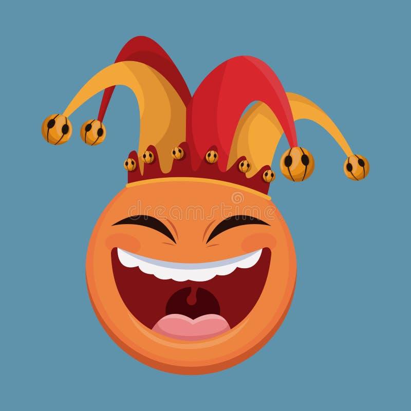 sombrero del bufón de la sonrisa del emoticon del día de los inocentes ilustración del vector