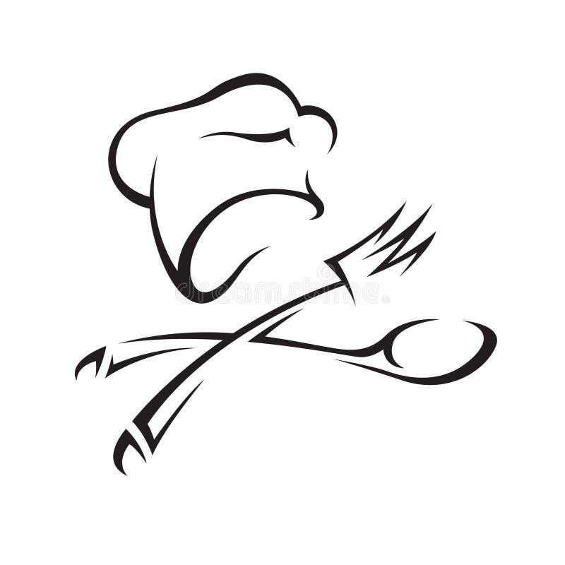 Sombrero del cocinero con el cuchillo y la fork ilustración del vector