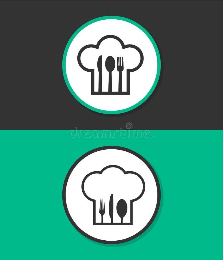 Sombrero del cocinero con la bifurcación, la cuchara y el cuchillo dentro imagen de archivo