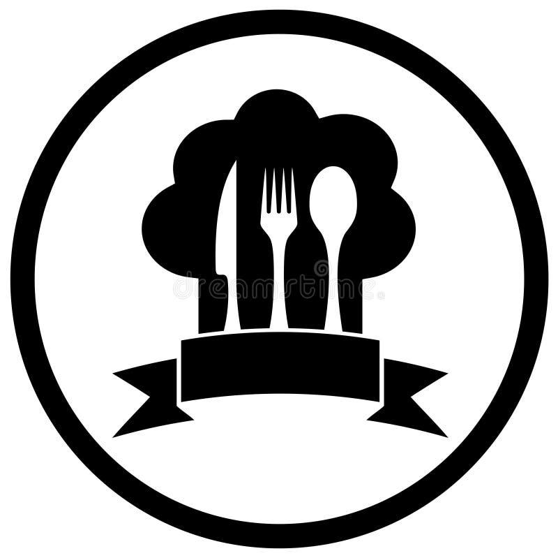 Sombrero del cocinero con mercancías de la cocina stock de ilustración