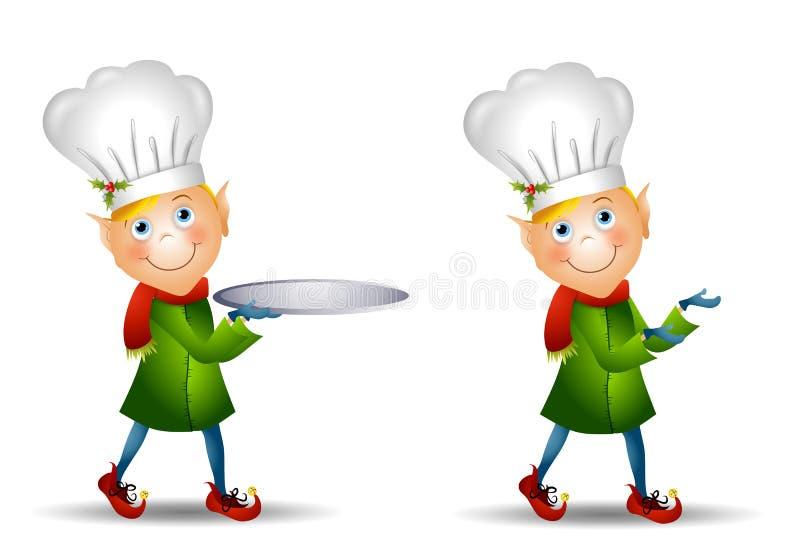 Sombrero del cocinero del duende de la Navidad stock de ilustración