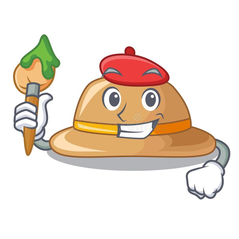 Sombrero del corcho del artista aislado en la mascota libre illustration