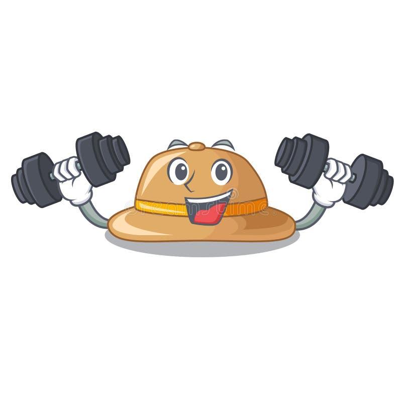 Sombrero del corcho de la aptitud aislado en la mascota stock de ilustración