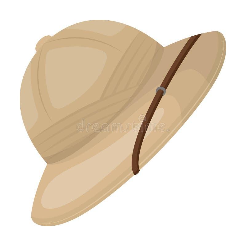 Sombrero del corcho del sol Solo icono del safari africano en web del ejemplo de la acción del símbolo del vector del estilo de l libre illustration