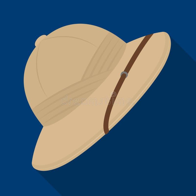 Sombrero del corcho del sol Solo icono del safari africano en web plano del ejemplo de la acción del símbolo del vector del estil libre illustration