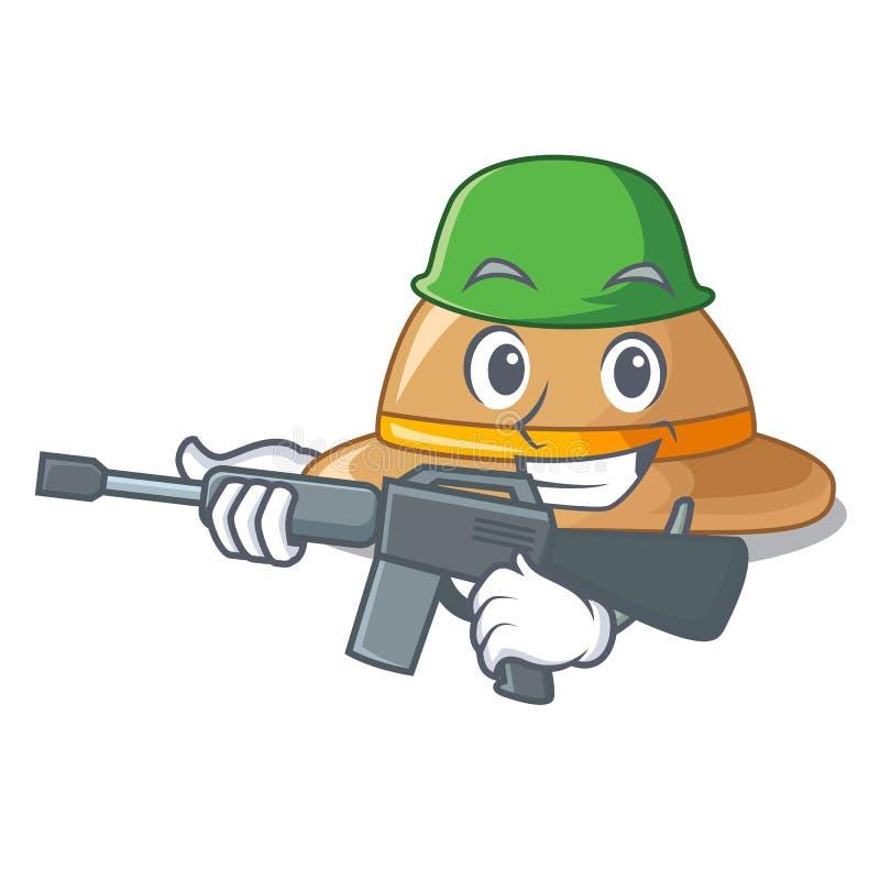 Sombrero del corcho del ejército aislado en la mascota ilustración del vector