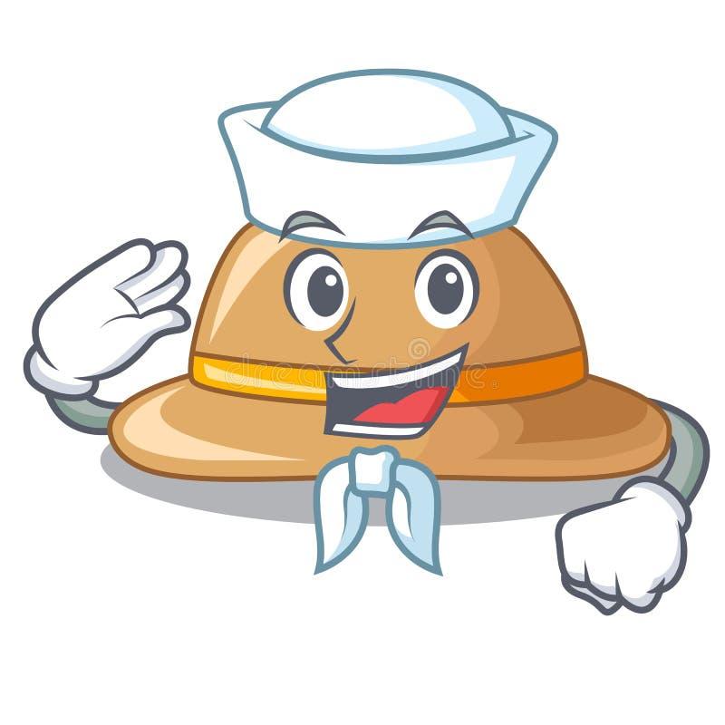 Sombrero del corcho del marinero aislado en la mascota stock de ilustración