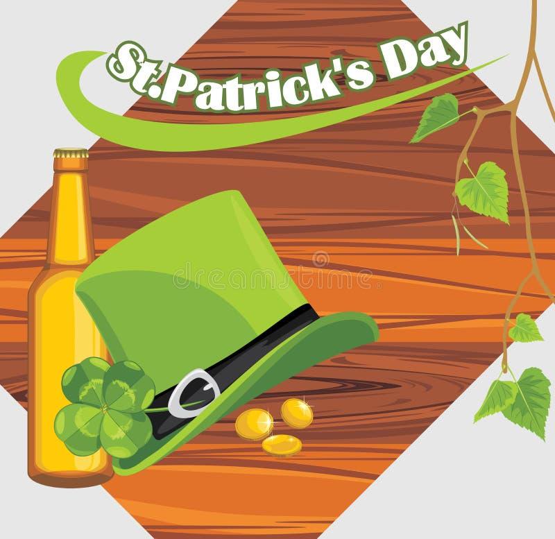 Sombrero del día del St. Patricks y botella de cerveza en el de madera libre illustration