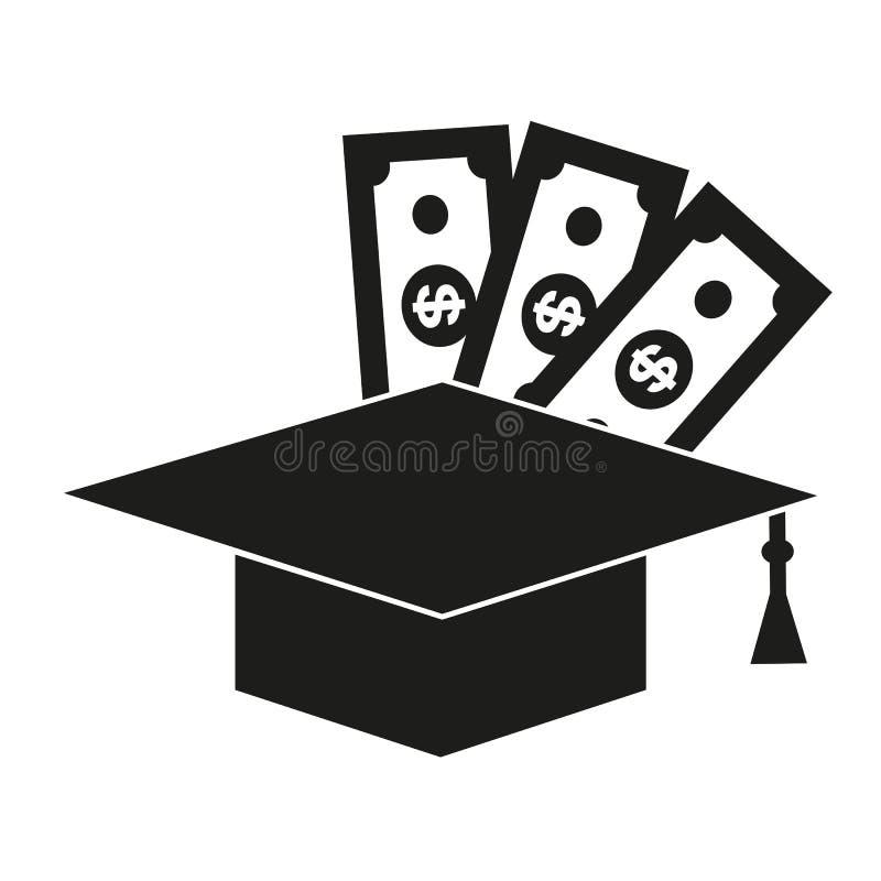 Sombrero del estudiante con los dólares Beca, educación patrocinada, inversión en la educación Puede ser utilizado para los temas fotos de archivo libres de regalías