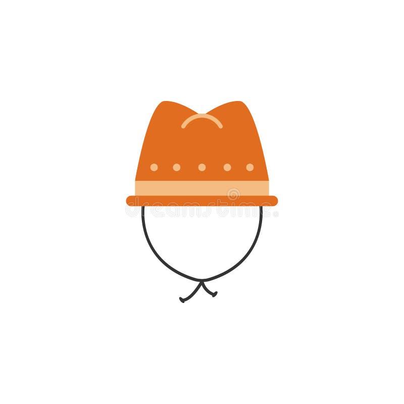 sombrero del explorador, icono de la ropa Elemento del icono africano del safari del color Icono superior del diseño gráfico de l stock de ilustración