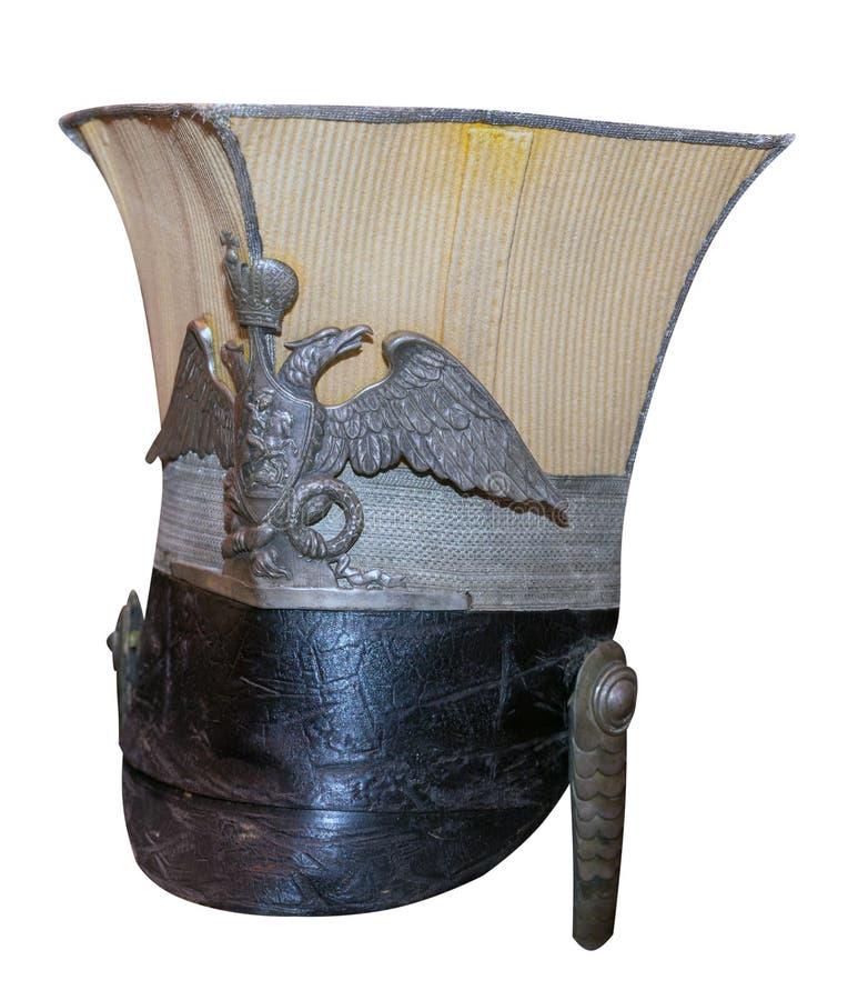 Sombrero del húsar del vintage aislado en el fondo blanco sombrero viejo del húsar imagen de archivo