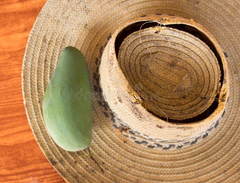 Sombrero del mango y de paja fotografía de archivo