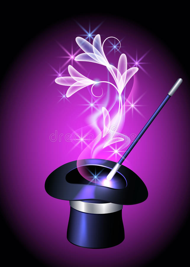 Sombrero del prestidigitador y flores transparentes stock de ilustración