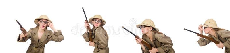Sombrero del safari de la mujer que lleva en blanco imagen de archivo