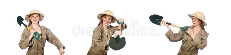Sombrero del safari de la mujer que lleva en blanco foto de archivo libre de regalías