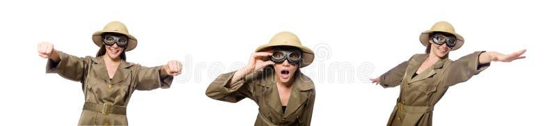 Sombrero del safari de la mujer que lleva en blanco fotografía de archivo libre de regalías