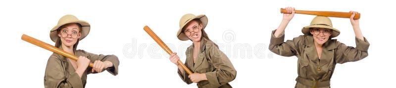 Sombrero del safari de la mujer que lleva en blanco fotografía de archivo