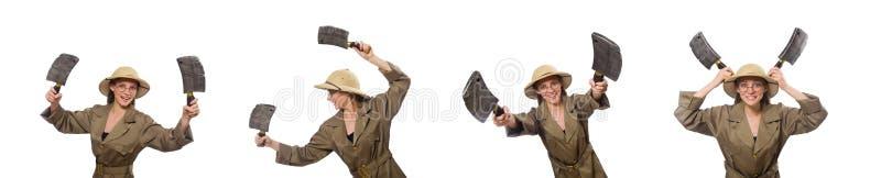 Sombrero del safari de la mujer que lleva en blanco fotos de archivo