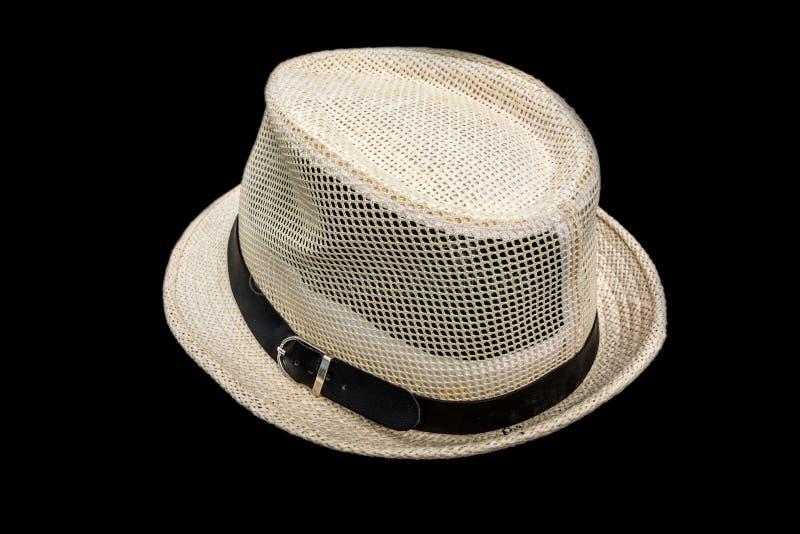 Sombrero del verano de Sun aislado en negro imágenes de archivo libres de regalías
